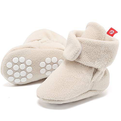 (FANTINY Newborn Baby Cozy Fleece Booties with Non Skid Bottom,DNDXBX,N.Khaki,13)
