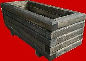 macizo Maceta de madera 80x 60x 36cm 60x 40mm barnizado con barniz para madera negro