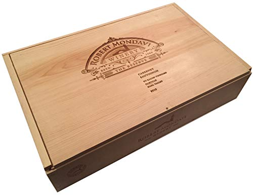 Napa Decor Valley - Vineyard Crates Decorative Wine Crate - Robert Mondavi 6 Bottle Wooden Wine Box with Sliding Lid (Mondavi Inserts)