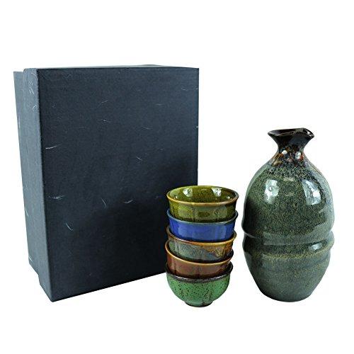Korea KOYO 6 Pieces Handmade Ceramic Pottery Japanese Hot Cold Sake Set One Bottle 5 Cups in Gift Box, Porcelain Ceramic Sake Set for Home Use or Deco, Microwave and Dishwasher Safe