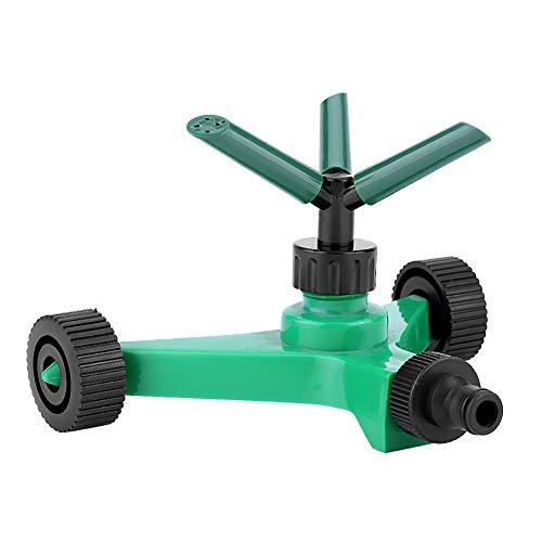 Fdit Aspersor de Agua Trigeminal de Rotación Libre con Ruedas Chorro de Agua 3 Cabezas de pulverización para Cesped