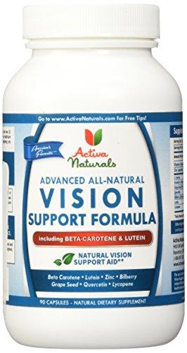 Activa Naturals Vision supplément de bêta-carotène, lutéine, myrtille, quercétine & raisin graines herbes - 90 gélules de légumes