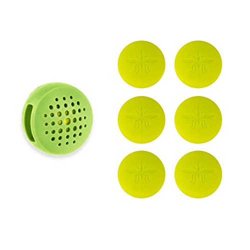 (Not In My Backyard Silicone Wearable Clip All Natural Essential Oils Mosquito & Insect Repellent with 6 Refills/ Green NB0126)