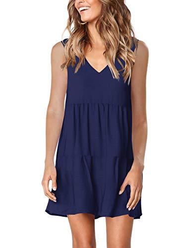 Amoretu Women Summer Casual T Shirt Sundress Beach Cover up Plain Pleated Tank Dress Navy S