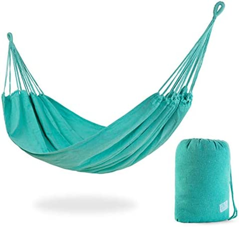 Stratr Brazilian Hammock – Large Hammock for Porch, Backyard, Indoor and Outdoors – Extremely Comfortable Woven Cotton Fabric Turquoise