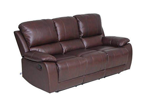 VIVA HOME Classic and Traditional Top Grain Leather Sofa Set Sofa Recliner Chair with Overstuff Armrest/Headrest, 3 Seater, Brown