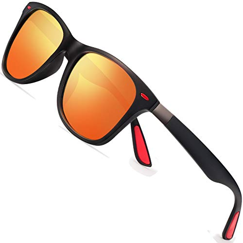 Polarized Sunglasses for Men Retro - FEIDU Polarized Sunglasses for Men Sunglasses FD2150 (orange/red, 60)