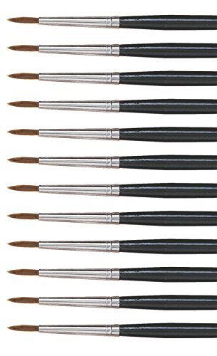 Dynasty Brush (Dynasty 5800 Round Camel Hair Short Enameled Wood Handle Watercolor Paint Brush, Size 5, 11/64 in Hair, Black, Pack of 12)