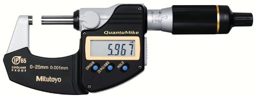 Mitutoyo 293-140 QuantuMike Coolant Proof LCD Micrometer, IP65, Ratchet Thimble, 0-25mm Range, 0.001mm Graduation, +/-0.001mm Accuracy (External Micrometer Ratchet)