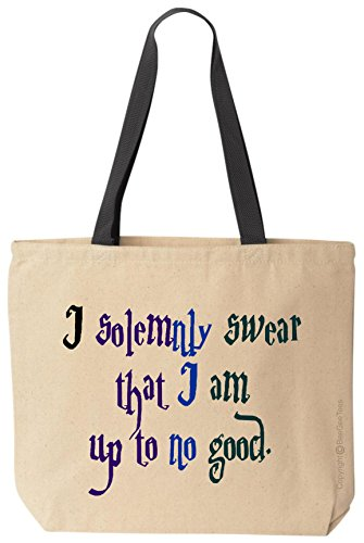 (BeeGeeTees I solemnly swear that I am up to no good Canvas Tote Funny Wizard Reusable Bag (Ole))