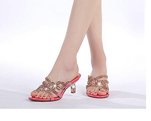 i Rosa Qingchunhuangtang alto tacco AMMENDA pantofole di sandali word di raffreddare caduta L' rugiada e wqqC6I
