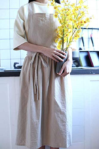 Linen pinafore apron/Square cross linen apron/Japanese style apron/Washed natural long linen apron/No ties apron