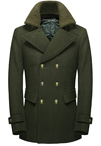 Quilted Peacoat (Chouyatou Men's British Double-Breasted Thicken Quilted Lining Wool Blend Peacoat (X-Small, Army)