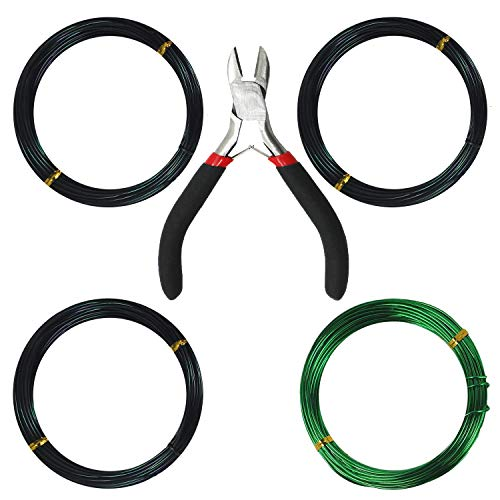 Kebinfen Tree Training Wires for Bonsai Tree, with Bonsai Wire Cutter - Size 1.0 mm/1.5 mm/2.0 mm (Each Size 32 ft/10 m), Anti-Corrosion and Rust Resistant by Kebinfen