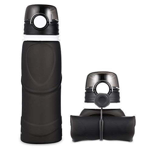 Jerrybox Collapsible Water Bottle - 26 oz with BPA Free Silicone Leak Proof Foldable Sports Bottle for Sports Outdoor Travel Camping Picnic