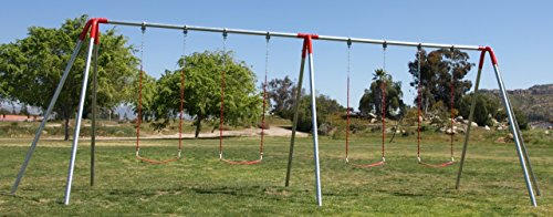 Red Heavy Duty 3 legged 2 Bay 10' Swing Frame w/4 Strap Swings Commercial or Residential