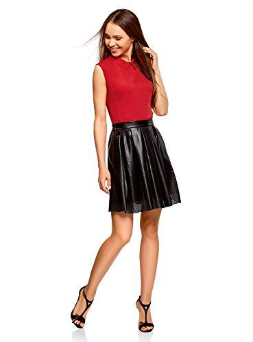 Rosso Rosso Rosso Donna oodji con 4500n Colletto Colletto Colletto Colletto Smanicata Ultra Camicetta wfqxqYSP