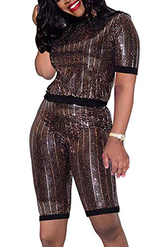 Womens Sexy Sequin Romper Jumpsuit 2 Piece Outfit Set Tracksuit Party Clubwear Metallic