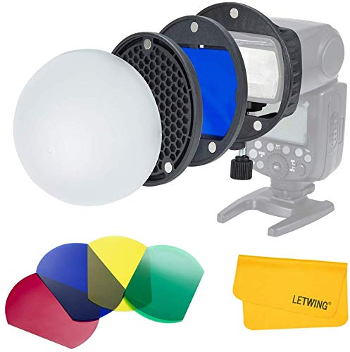 LETWING Flash Diffuser Light Softbox Speedlite Flash Accessories Kit with Magnetic Universal Mount Adpater for Canon,for Nikon,for Sony Speedlight,for YONGNUO Speedlite and Godox Flash Speedlight