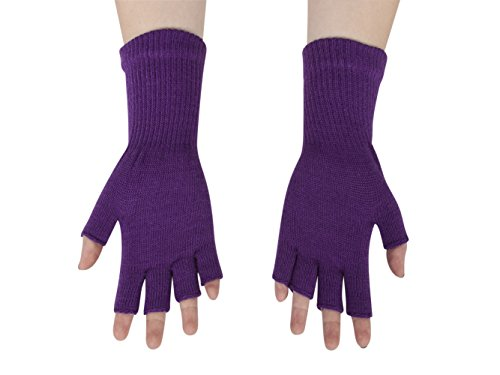 Purple Fingerless Gloves (Gravity Threads Unisex Warm Half Finger Stretchy Knit Gloves, Purple)