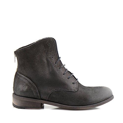 Felmini - Zapatos para Mujer - Enamorarse com Bomber 8497 - Botas con Cordones - Cuero Genuino - Negro Negro