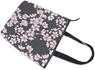 BKEOY Grand sac à main à bandoulière avec fermeture Éclair Motif fleur de sakura