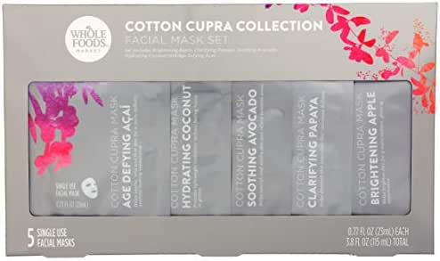 Whole Foods Market, Cotton Cupra Collection, Facial Mask Set, 3.8 fl oz (Pack of 5)