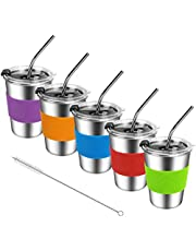 Kids Stainless Steel Cups, Kids Metal Drinking Glasses with Lids, Stainless Steel Straws and Sleeves, 12oz Reusable Water Tumbler for Children and Adults, Apply to Indoor and Outdoor (5 Pack 12 oz)