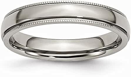 Chisel Titanium Grooved and Beaded Edge 4mm Polished Band
