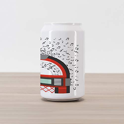 Ambesonne Jukebox Cola Can Shape Piggy Bank, Cartoon Party Music Antique Old Vintage Retro Box with Notes Artwork, Ceramic Cola Shaped Coin Box Money Bank for Cash Saving, Red Black Grey and White