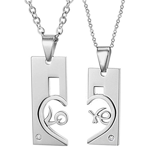 Alimab Jewelery Stainless Steel Women's Chain Necklaces Rectangle Shape And Half Heart (Alice In Wonderland Jewelery Kit)