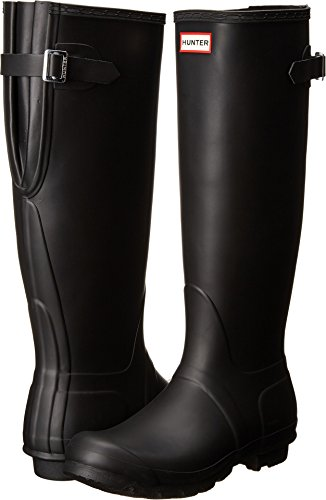 Images of Hunter Women's Original Back Adjustable Rain Boots Black 7 M US