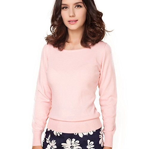 Panreddy Women's Cashmere Wool Blended Long Sleeve Crew Neck Sweater Pink XL