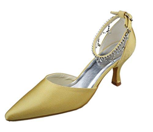 Minitoo GYAYLMM023 Womens Kitten Heel Bridal Closed Toe Satin Evening Party Bridal Heel Wedding Buckle Shoes Pumps B00GPO42PE Shoes 605ee7