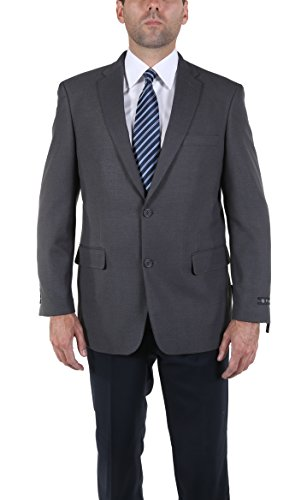 P&L Men's Two Button Gold Herringbone Silk Wool Sport Coat (42R, Grey)