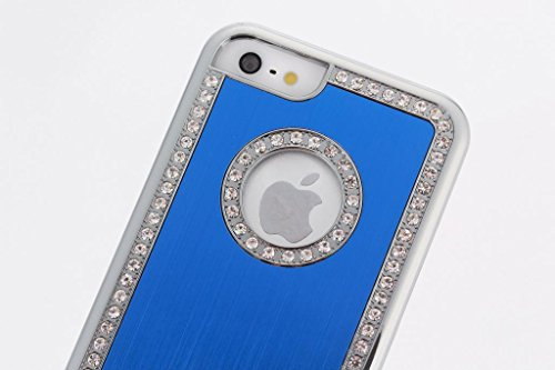 Stunning Style Apple Iphone 6 (4.7 inch) Deluxe Blue brushed aluminum diamond case bling cover for Apple Iphone 6 (4.7 inch)