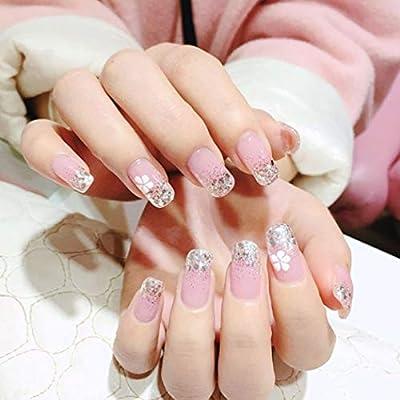Jovono 24 uñas postizas de color rosa con borde de plata, uñas ...