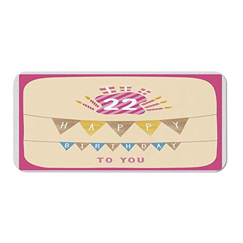 22nd Birthday Decorations Personalized Mouse Pad,Happy Birthday to You with Candies Cake Candles Cute Print for Work ()