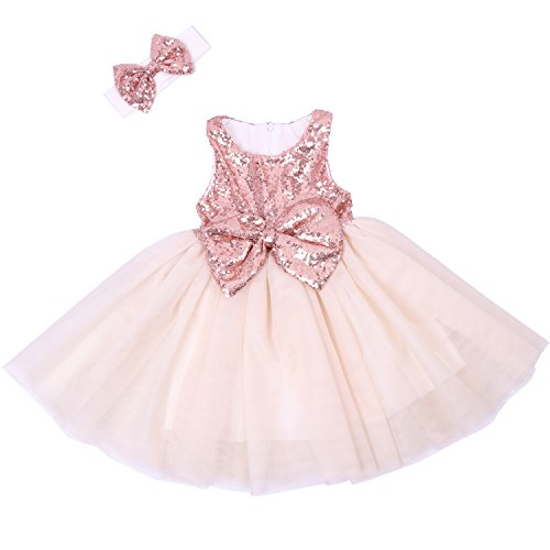 (Cilucu Flower Girl Dresses Toddlers Sequin Party Dress Tutu Baby Prom Pageant Dresses Gown Kids Sleeveless Rose Gold/Offwhite 12 Months-2T)