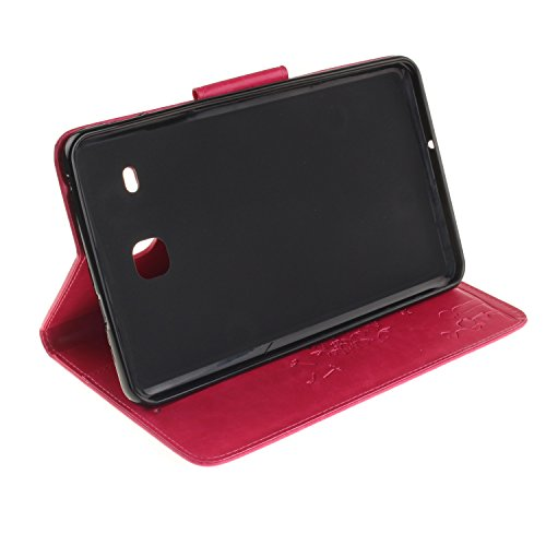 JIALUN-Personality teléfono shell Diente de león en relieve de la cubierta de la caja Funda de folio en color sólido Maganetic PU Funda de cuero para Samsung Tab E 8.0 pulgadas T375 T377 Seguridad y M Rose