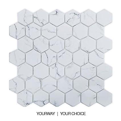 Uw Statuario Bianco Esagonale Marmo Mosaico Piastrelle Per