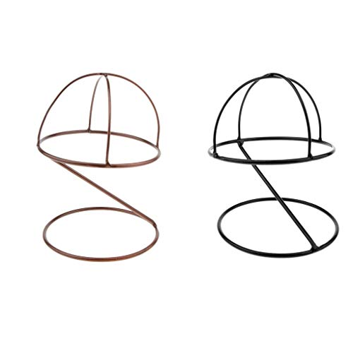 Fityle 2 Pieces Freestanding Wire Ball Hat Stand/Hat Rack/Wig Holder Storage Display Stand, (Black,Bronze, 6.3inch)
