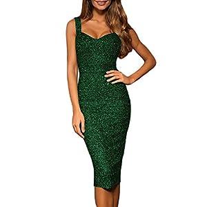 whoinshop Women's Sleeveless Bodycon Glitter Club Party Midi Dress