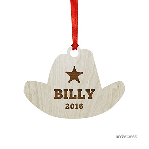 Andaz Press Personalized Laser Engraved Wood Christmas Ornament with Gift Bag, Cowboy Hat Shape, 2019, Custom Name, ()