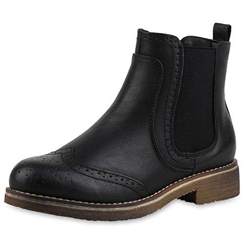 napoli-fashion Damen Stiefeletten Flache Chelsea Boots Leder-Optik Schuhe Gr. 36-41 Jennika Schwarz Black Nero Noir