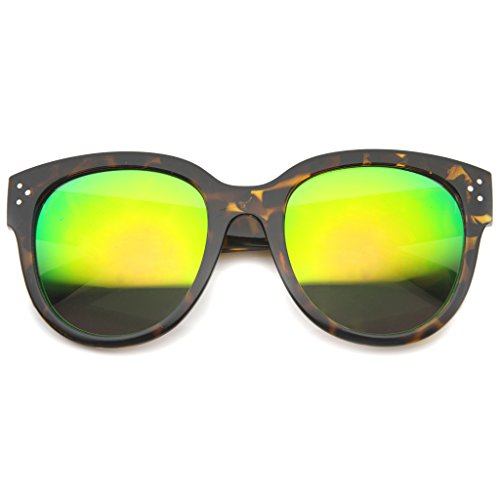 AStyles Womens Large Oversized Fashion Horn Rimmed Audrey Sunglasses (Tortoise-Green)