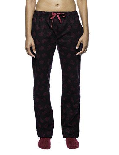 Noble Mount Women's Premium Flannel Lounge Pant - Hearts Black/Red - X-Large -
