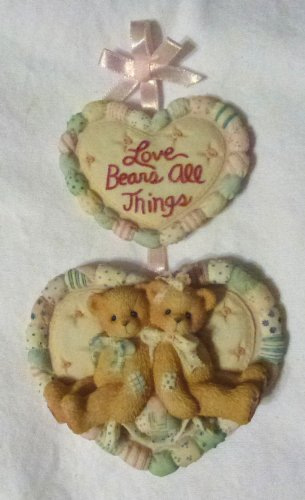 Cherished Teddie......... Love Bears All Things (hanging Double Heart Plaque)