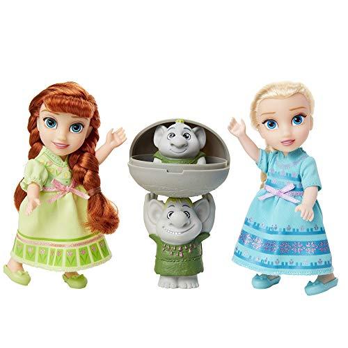Disney Frozen Petite Anna & Elsa Dolls with Surprise Trolls Gift Set