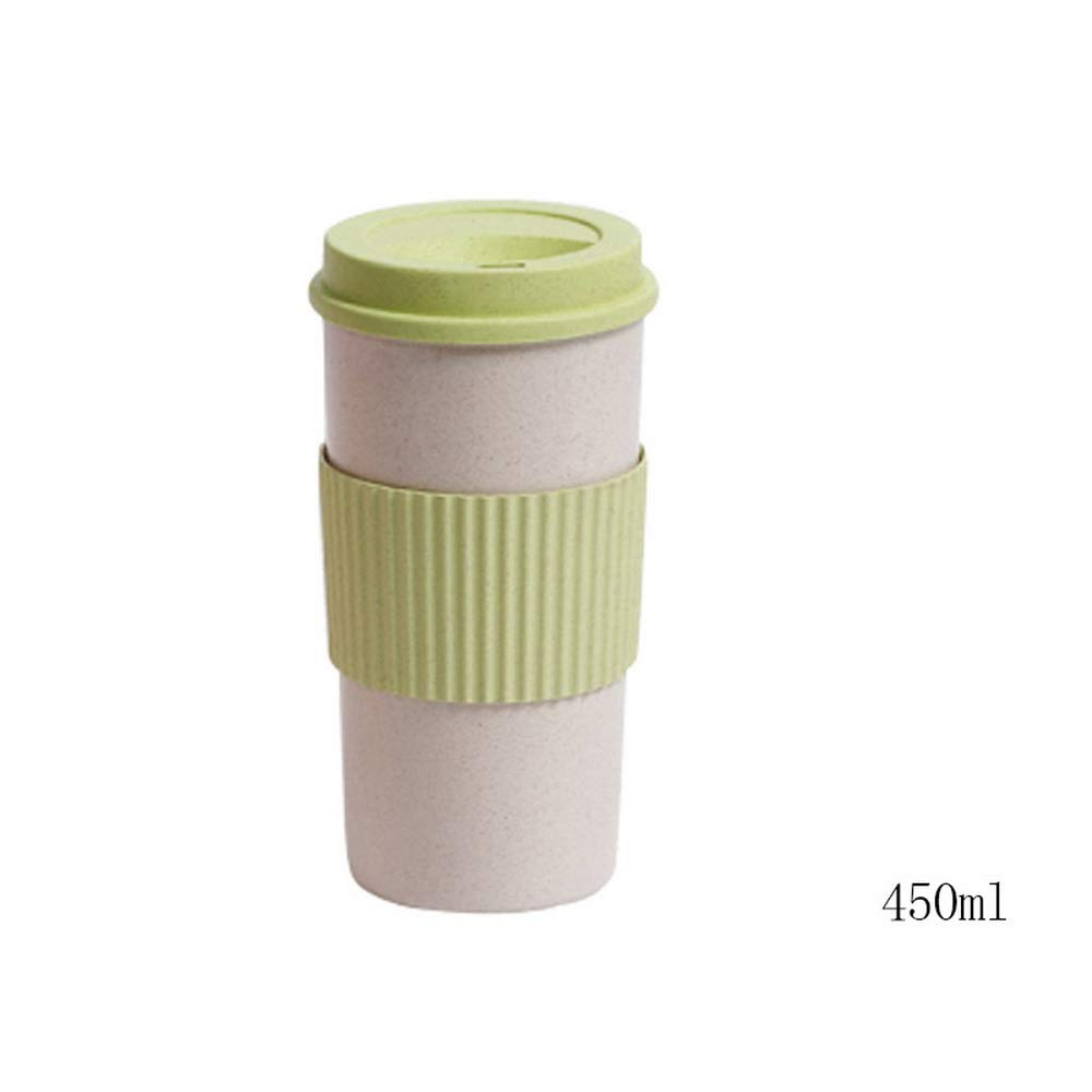 Godagoda Non-Slip and Insulated Plastic Coffee Cup Creative Drink Cup Straw Wheat Fragrance Cup Portable Travel Cup 450ML
